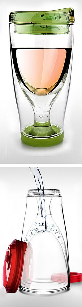Wine Cup To Go - fill the insulated bottom with water and freeze to chill your wine!