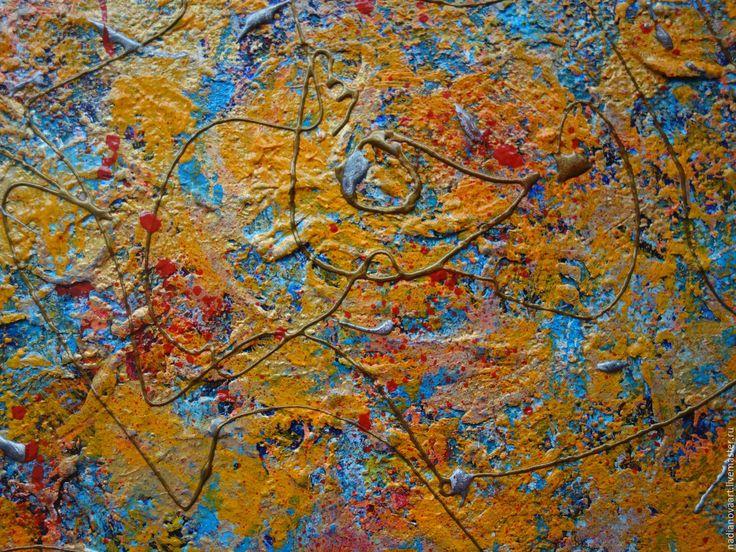 """Купить """"Солнце Золотое""""-золотисто-желтая абстракция на холсте акрилом - золотой, абстрактная картина"""