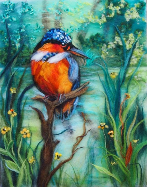 The Kingfisher original wool painting by Textile Artist Raya Brown.Unique technique of painting with fibres was used to create this art work