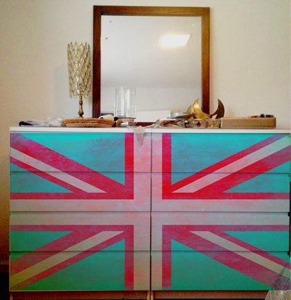 Union Jack Ikea hack for 3x4 Malm chest. Super easy application with MrsPALS vynil technology