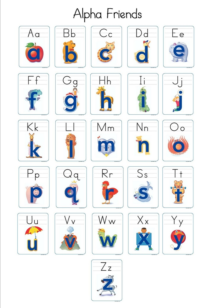 "free Alphafriends sheet print out. I laminate them after gluing it to construction paper. I give each child a copy and they hold it and point to each letter as we sing the chant. "" Andy Apple /a/ /a/ /a/, Benny Bear /b/ /b/ /b/ ... """