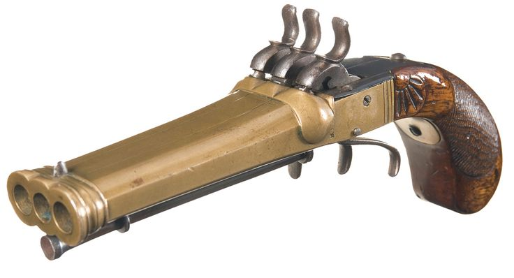 Japanese marked brass triple barrel percussion pistol. Produced during the 1800s, this unique percussion pistol features a frame and three barrels made from one solid piece of brass.Barrel Length:4 inch flat sided. Gauge 41.