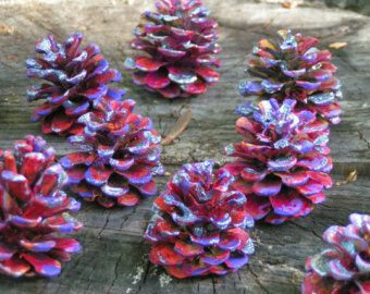 Painted Pine Cone FlowersUnique Handmade Lavender by ForestSecrets