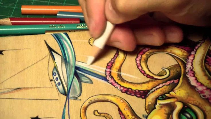 Time Lapse Prismacolor pencil octopus drawing
