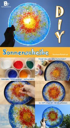 not just for Litha or Midsummer - suncatcher with melting pellets oder plastic beads! ~ Sonnenscheibe mit Schmelzgranulat ~ summer solstice