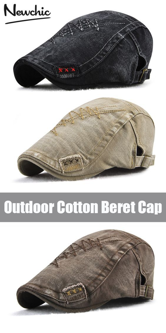Mens Embroidery Hats Vintage Washed Cotton Berets Hats