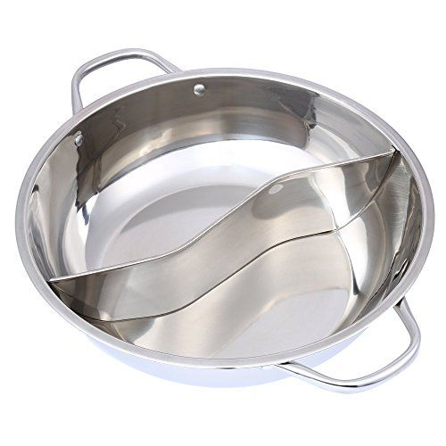 New 28cm Stainless Steel Hot Pot Twin Divided Cookware Induction Little Sheep Pot Hot Pot Ruled Compatible Cooking Tools  Thick stainless steel pot, material thickness, welding, polishing is the best of the whole network.  No non-magnetic stainless steel pots of Little Sheep hot pot  Made of high-quality material, stable connection, they are durable for long-term use  Environmentally friendly and reusable  Application: induction cooker, gas furnace, electric furnace, ceramic hob