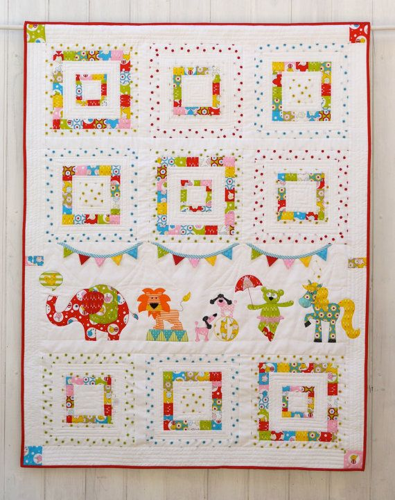 Animal circus applique quilt patterns. Instand download PDF
