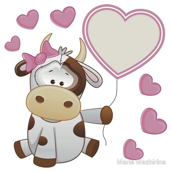 Baby girl calf with hearts and balloon | Sticker