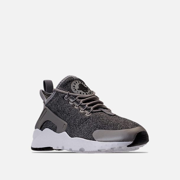 9d8585d4790e Three Quarter view of Women s Nike Air Huarache Run Ultra Casual Shoes in  Dust Metallic Pewter Black White