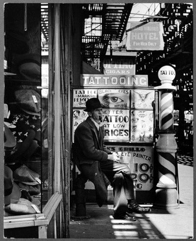 The Bowery showing some tattooing place 1930's. New York City.