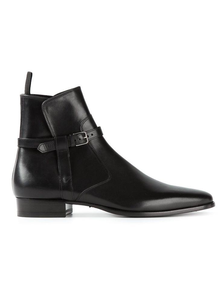 New Handmade men black jodhpurs ankle boot, Men ankle high leather boot - Boots