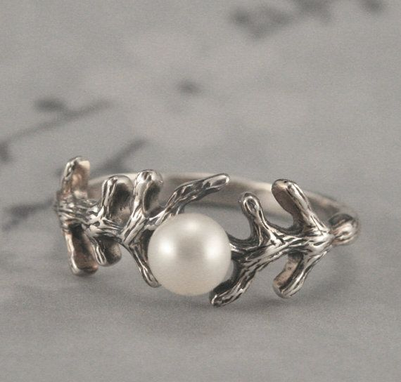 Sterling Silver Branch Pearl RingSet with your choice by debblazer, $47.00