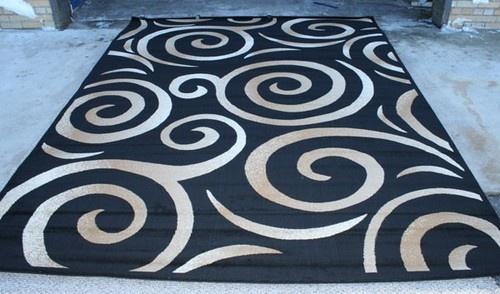 Black Beige Ivory 5x7 Modern Swirls Area Rug Carpet 0237