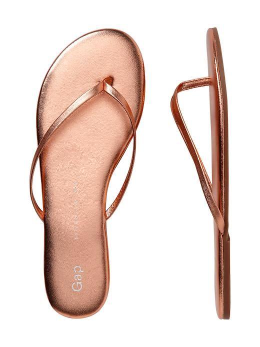 Gap   Leather flip flops - rose gold