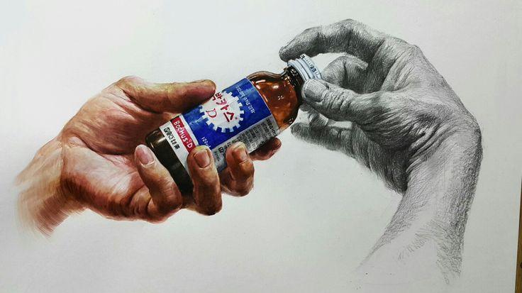 드로잉 손 소묘 수채화