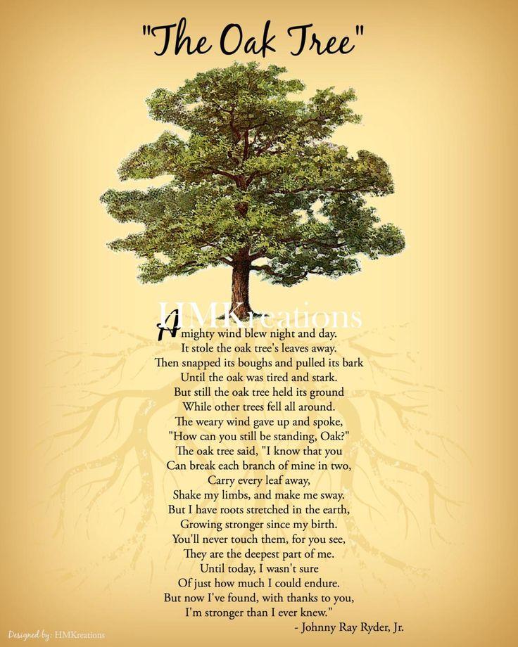 Oak Tree Poem • Inspirational Wall Art • Nature Wall Art