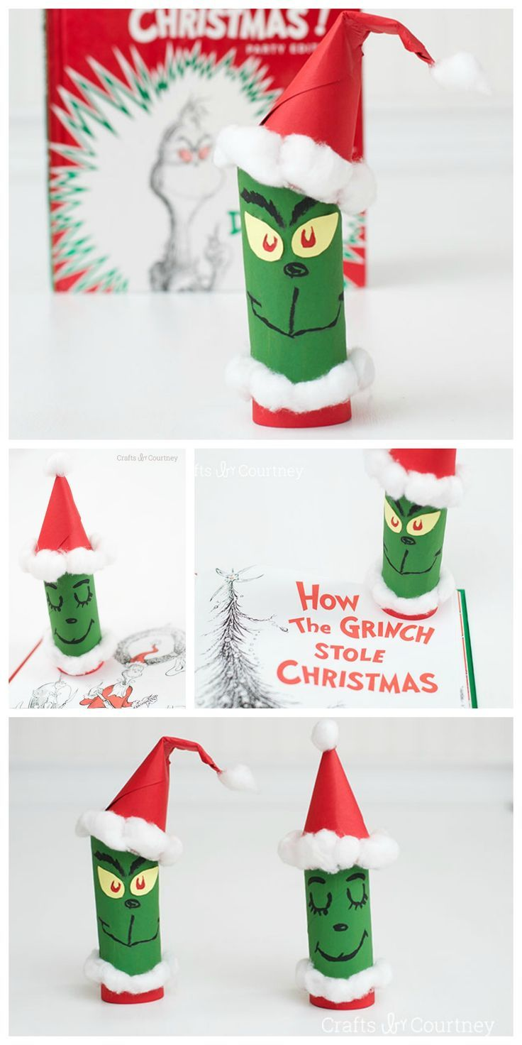 Love How The Grinch Stole Christmas? Create your very own Grinch with a toilet paper roll for Christmas. Kids will have a fun time with this Christmas craft.