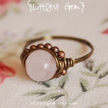 Big Rose Quartz Ring, wire wrapped ring, wire wrapped jewelry handmade, unique ring, rustic ring