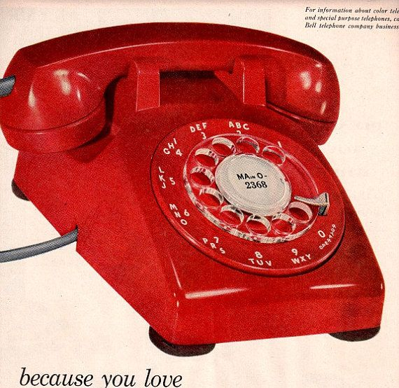 vintage  mid century lipstick red rotary phone 1958 advertisement op Etsy, 9,84 €