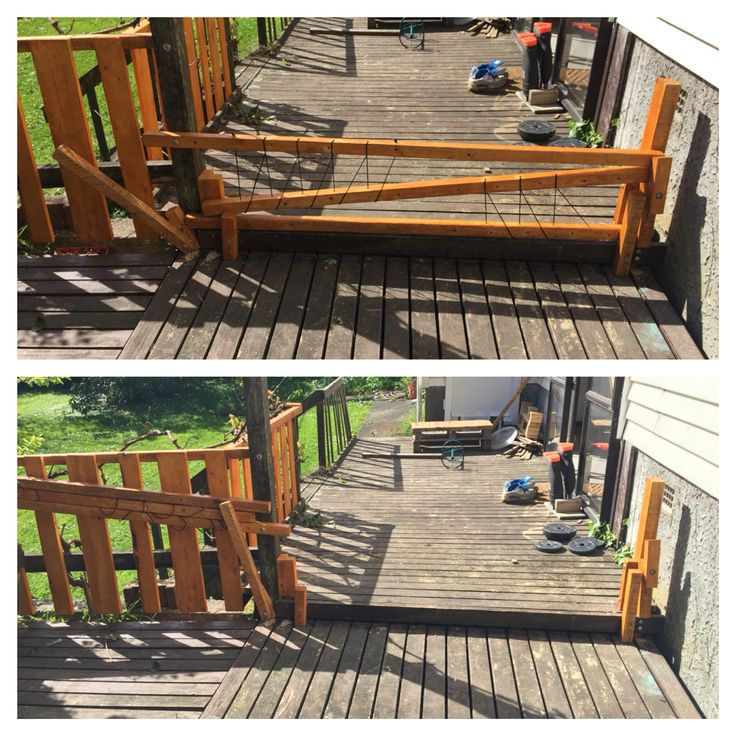 Swing down, collapsible baby gate for deck. Up cycled wood