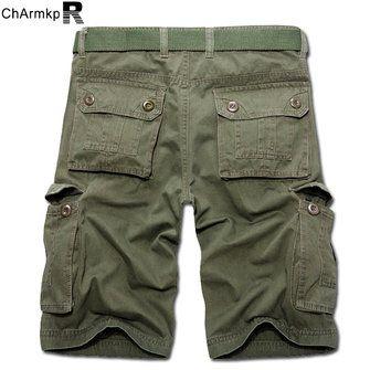 ChArmkpR Plus Size 30-46 Mens Casual Cotton Solid Color Big Pockets Loose Cargo Military Shorts at Banggood