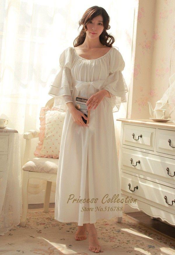 Бесплатная доставка 100% хлопок ночную рубашку принцесса рубашки королевский pijama дамы пижамы длинные белые…