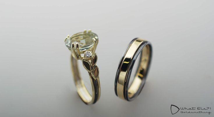 Trouwringen met Prasioliet en diamant, geelgoud in combinatie met gezwart zilver maken het helemaal af!