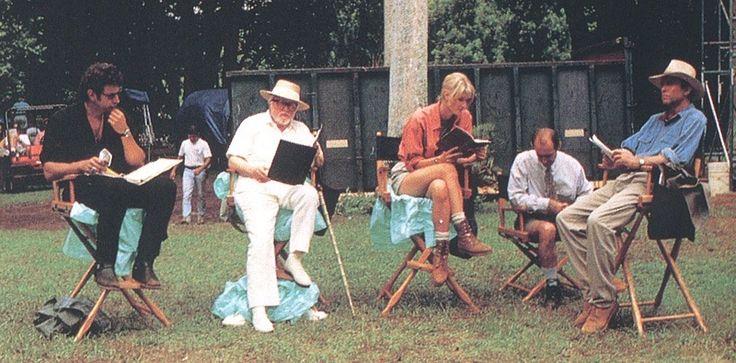 Jeff Goldblum, Richard Attenborough, Laura Dern, Martin Ferrero and Sam Neill go over their lines on the set of Jurassic Park.