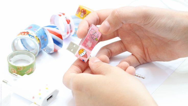 DIY rápido fita adesiva durex cabo de celular borboletas na carteira