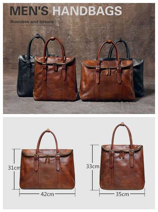 Handmade Vintage Top Grain Leather Briefcase 14'' Leather Laptop Bag Men's Fashion Business Bag GR01 Overview: Design: Men's Leather Briefcase In Stock: 3-5 days For Making Custom: No Color: Vintage B