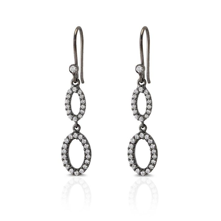 Elegant Enkel Kvinder Dingle Dråbe Øreringe i Mørk Rhodineret Sølv - Needs Jewellery