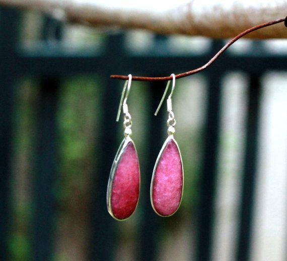 Ropad, Deep Pink Sterling Silver Bezel cut Dangle earring