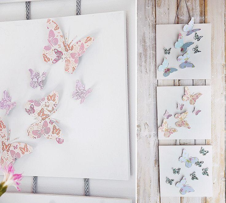 Superb Fr hlingshafte Wanddekoration mit bunten Schmetterlingen aus Papier dieses farbenfrohe DIY ist schnell und leicht gezaubert