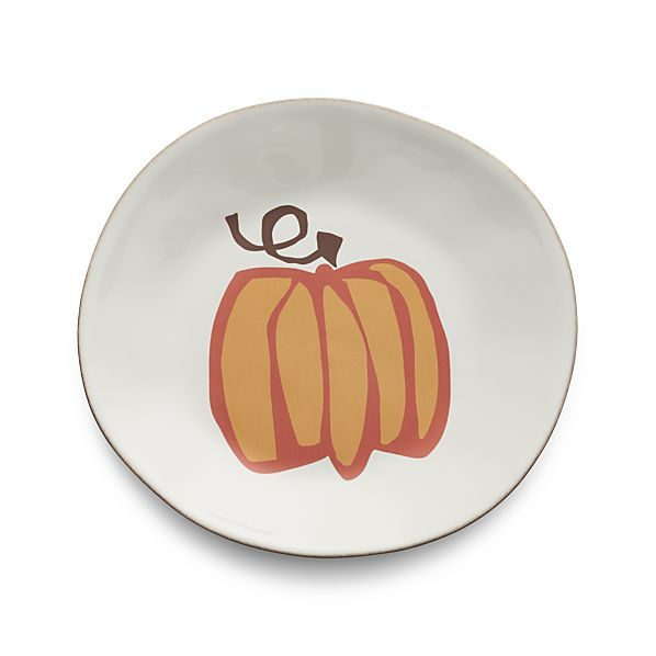 This special seasonal addition to our colorful Marin dinnerware collection features a lively ring of ripe, graphic pumpkins designed exclusively for us by artist Jane Dixon. This creamy white plate with hand-antiqued rim and central pumpkin motif is ideal for serving autumn salads, starters and side dishes. Coordinating platter sold separately.