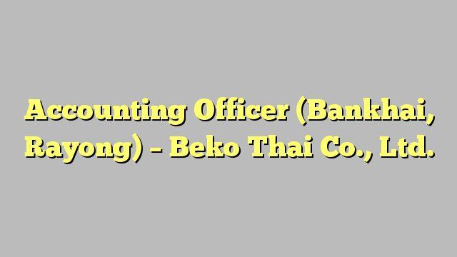 Accounting Officer (Bankhai, Rayong) - Beko Thai Co., Ltd.