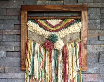 MADE TO ORDER. Handmade woven wall hanging. Made in Chile with natural wool, wood and driftwood from Lago Puyehue. Measures 17x31,4 inches. It takes me 3 weeks to do it and three more weeks the delivery.