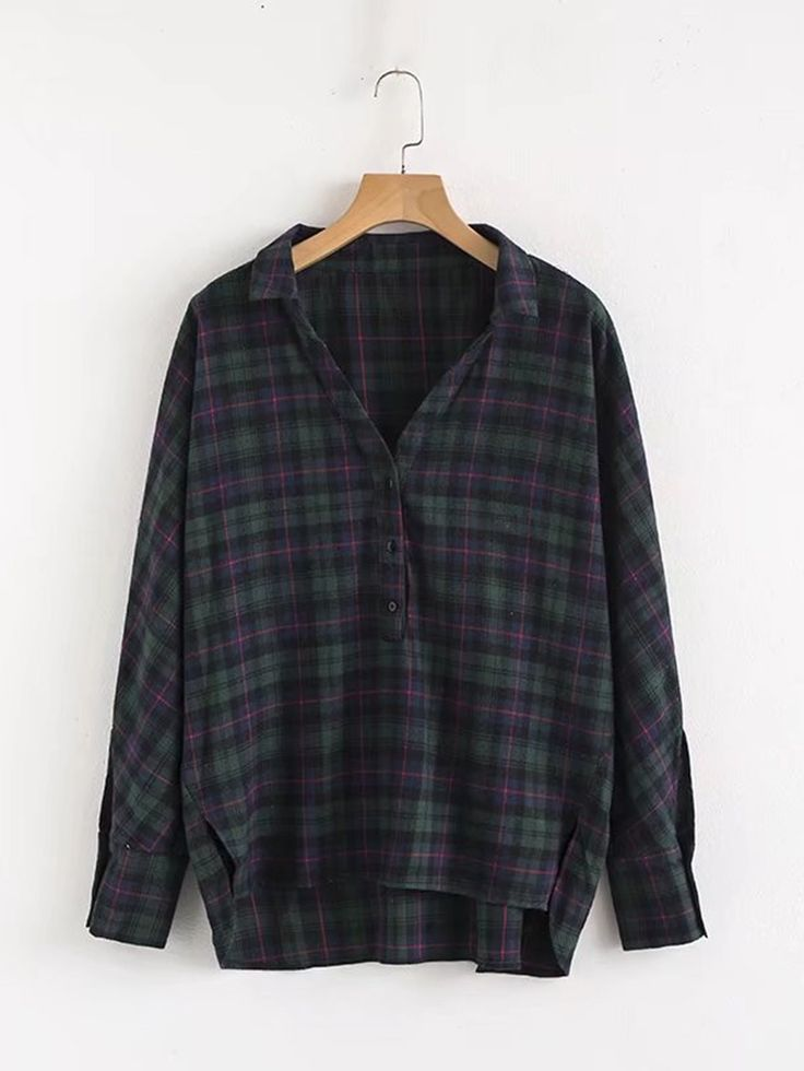 Dip Hem Gingham Blouse / Flannel {this is an affiliate link}