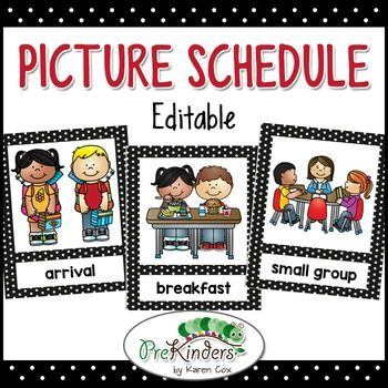 This picture schedule will help your young students understand what's happening through their school day. You can use the ready-to-go picture schedule and even edit the text to the wording you like. Want to add your own photos or clipart? Just use the editable blank template that's included.The schedule cards have bold black polka dot frames.