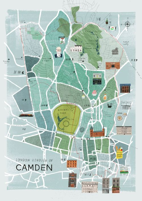 "gracedraws: "" A map of the London Borough of Camden (the borough I was born  in!) as part of a collaboration with Tree Abraham a great friend and  incredible ..."