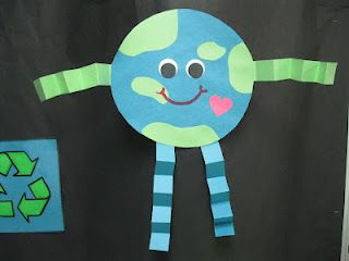 This is a pretty simple arts & crafts activity that can be done on or around Earth Day.  Discuss ways to help the environment with the children as they create their own planet Earth! -dg