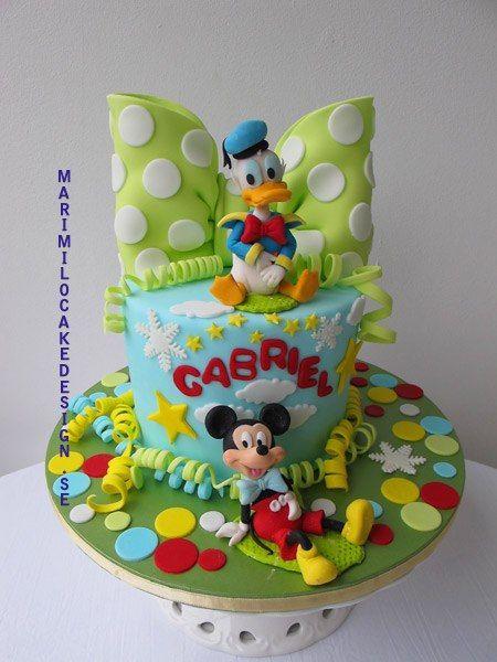 Polka Dots & Bow Mickey and Donald Cake (Gabriel)