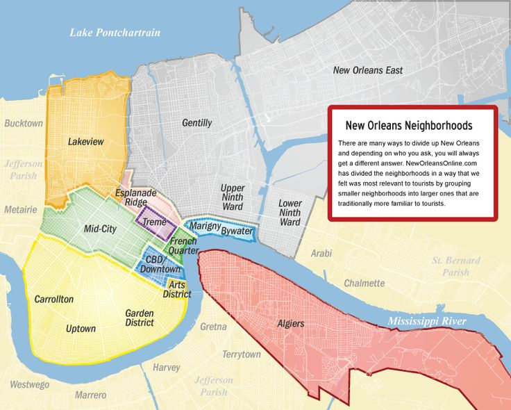 Neighborhood Map -- New Orleans.  Site also includes street maps by neighborhood.  From New Orleans Tourism Marketing Corp.