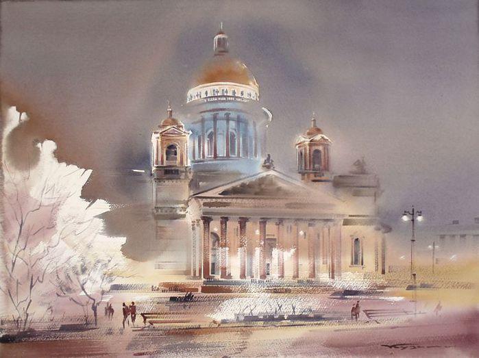 Исаакиевский собор в электрическом освещении (700x523, 59Kb)