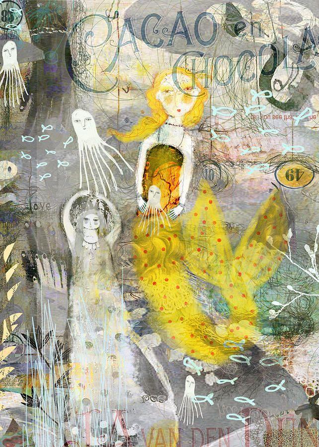 Little yellow mermaid canvas print canvas art by sarah kiser
