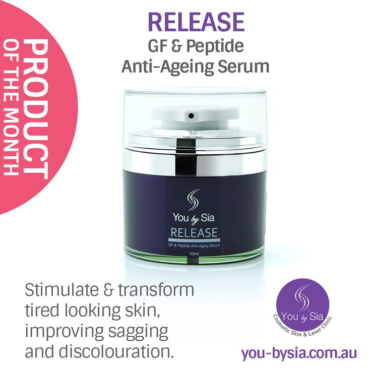Release – GF & Peptide Anti-Ageing Serum uses a complex of growth-factor mimicking peptides to stimulate and transform tired looking skin, improving the signs of ageing, including sagging and discolouration. Size: 30mL ‪#‎skincare‬ ‪#‎skinrejuvenationclinic‬ @youbysia Buy Now: https://www.you-bysia.com.au/product/release/
