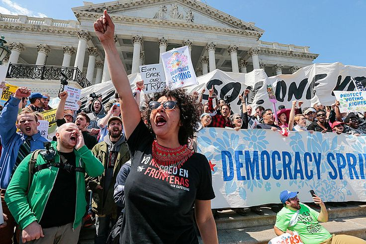 Hundreds arrested at US Capitol at 'Democracy Spring' protests The more than 400 demonstrators arrested outside the US Capitol on Monday represented Democracy Spring, a coalition that seeks to end the influence of big money on government. = noble cause!