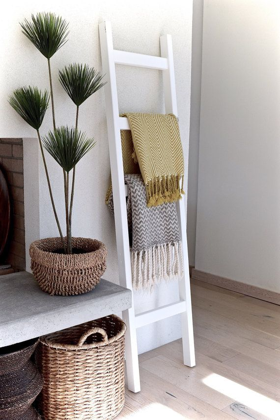 Blanket Ladder | Wood Quilt Ladder | White Blanket Ladder | Towel Hanger | Living Room Decor | Bathroom Decor | Painted White 6' Chunky