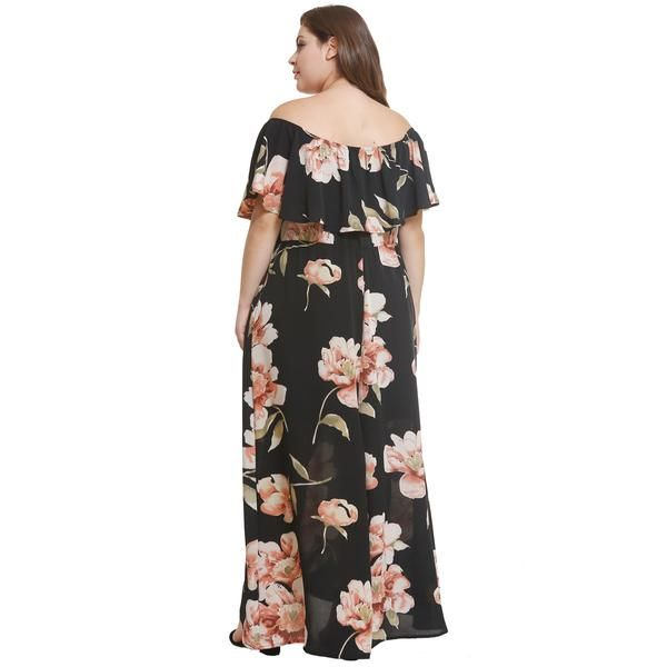 2688d0d833e44 Plus Size Floral Print Off-Shoulder Maxi Dress – Pink-Always