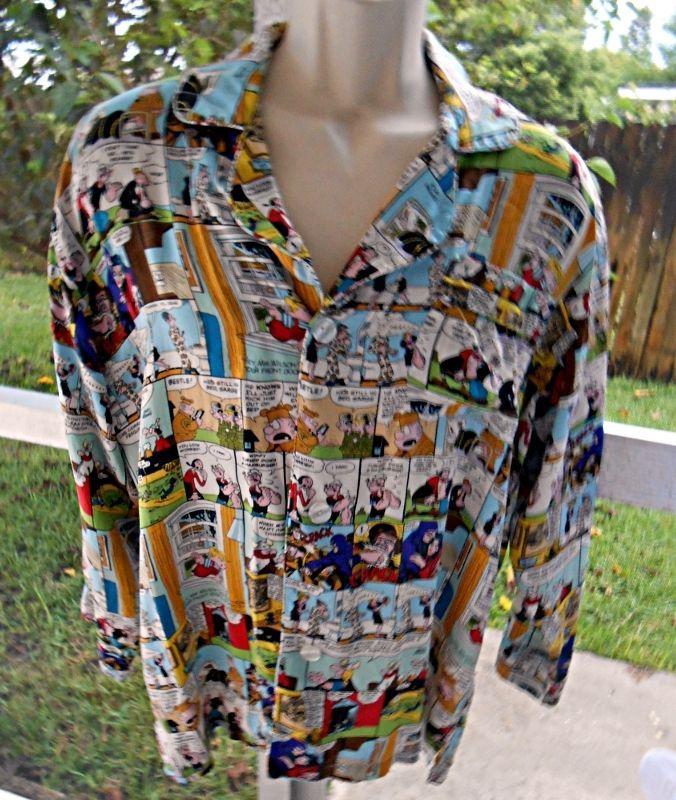 Silk Universial Studios Sunday Comic Strips Shirt Long Sleeve Button Up Size L #UniversalStudios #ButtonFront